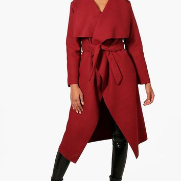 Francesca Belted Waterfall Coat | Boohoo