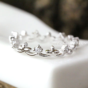 Crystal Crown Ring Tiara Ring Princess ring Stacking ring Bridesmaid Gift Idea bytr11