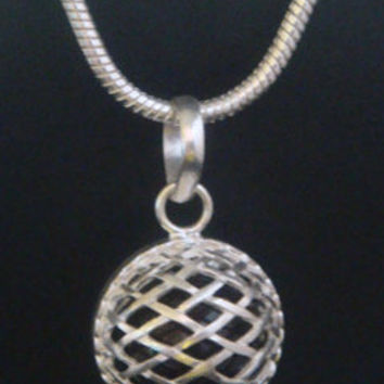 Harmony Ball Necklace with Black chime ball in a basket weave 925 Sterling Silver cage 274 | Bola Necklace, Angel Caller, Pregnancy Gift