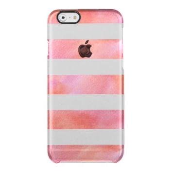 Pink and Orange Watercolor Girly Stripes Uncommon Clearly™ Deflector iPhone 6 Case