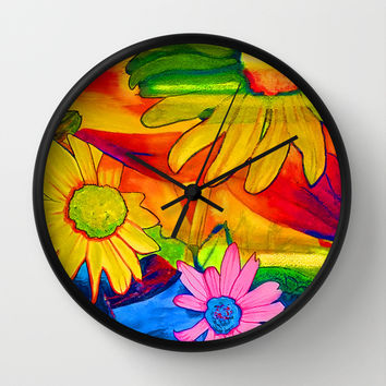 Psychedelic Daisies Wall Clock by Riet8995