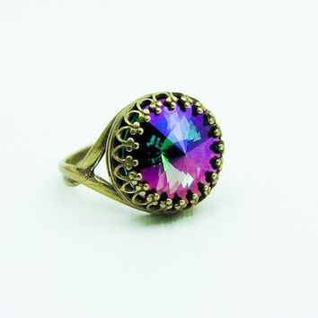 Swarovski Crystal Ring Adjustable Aqua Purple Haze Oxidized Brass Rivoli Crown
