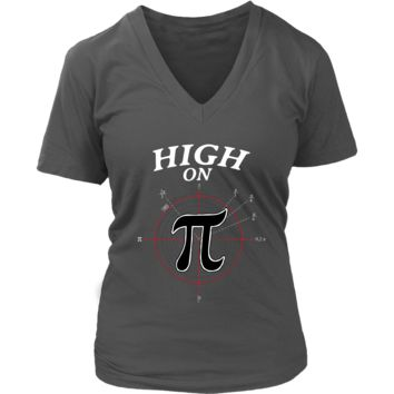 High On Pi Funny Nerd Geek Tee Shirt - Math Algebra T-Shirt - Womens Plus Size Up To 4X