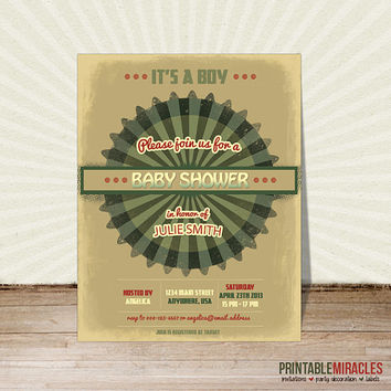 Retro baby shower invitation Customized pink green khaki vintage Christmas party invite Personalized birthday invitation