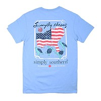 Preppy Strong Tee in Blues by Simply Southern