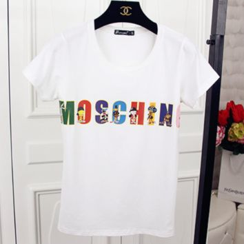 MOSCHINO 2018 Summer New Short Sleeve T-Shirt White
