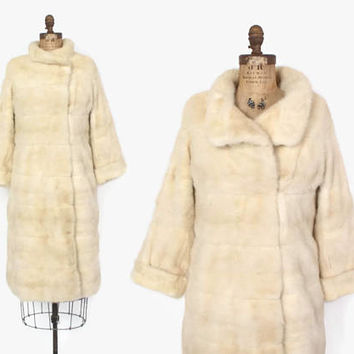 Vintage 60s MINK Coat / 1950s Pearl BLONDE Genuine MINK Full 3/4 Length Winter Coat