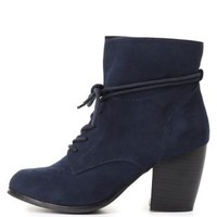 Slouchy Lace-Up Ankle Boots by Charlotte Russe - Navy