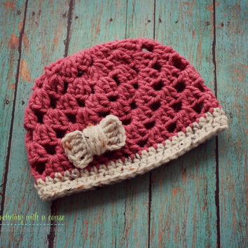 Pink and Cream Beanie - With Bow - Baby Girl