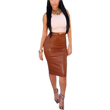Zanzea Fashion 2017 Women Soft PU Leather Skirt High Waist Slim Hip Pencil Skirts Vintage Bodycon Midi Skirt Sexy Clubwear Hot
