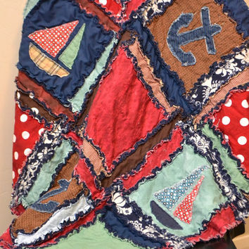 Nautical Boat Crib Size Rag Quilt, Made to Order