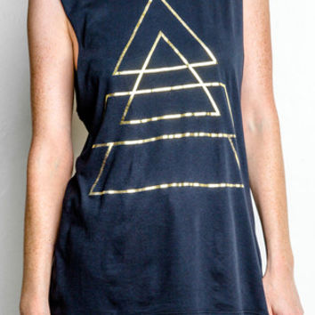 Gold Foil Triad Cutoff Tee