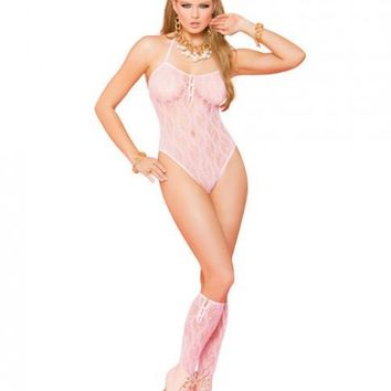 Elegant Moments Vivace Lace Teddy & Stockings Baby Pink O/S