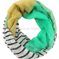 Multi Color Block Stripe Print Women's Scarf Infinity Loop Snood Scarves Accessories, Free Shipping