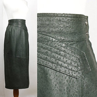 80s leather skirt / high waisted pencil skirt / animal print / made in Italy / women's leather skirt / 1980s skirt / size S