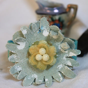 Leather Cuff Bracelet,jewelry,canvas flower,hand-painted,vintage button, adjustable,woman's bracelet, original, unique,cute, aqua, soft blue