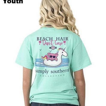 YOUTH Pig on Unicorn Float 'Beach Hair Don't Care' Girls Tee by Simply Southern