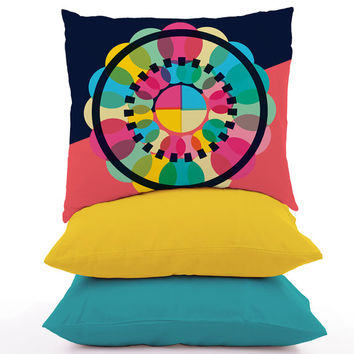 Geometric Throw Pillow Cover Colourful Circle Pattern