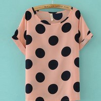 Big Polka Dot T-Shirt Pink$38.00