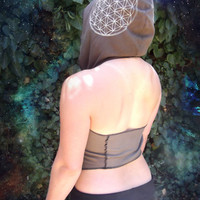 Hara Halter Flower of Life: hooded halter top, backless shirt. Sacred geometry screen print. upcycled cotton. Black, brown, turquoise.