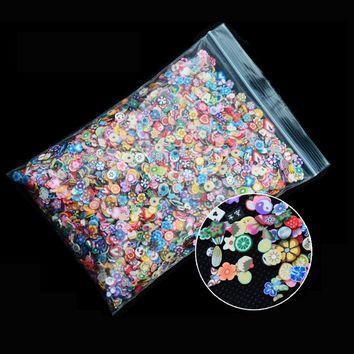 Hot 1pack Nail Art 3d Fruit Feather Flowers Mix Designs Tiny Fimo Slices Polymer Clay DIY Beauty Nail Stickers Decorations