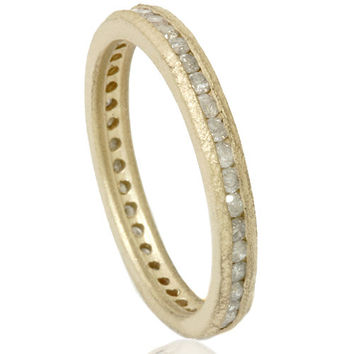 Raw Diamond Eternity Stackable 1/2CT Wedding Anniversary Ring Band Channel Set 14K Yellow Gold Size (4-9)