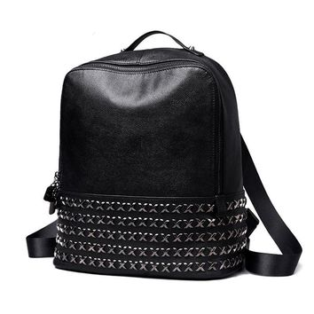 Women 100% Genuine Leather Classic Punk Style Rivets Backpacks
