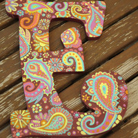 """Hand Painted Wooden Paisley Letter """"E"""""""