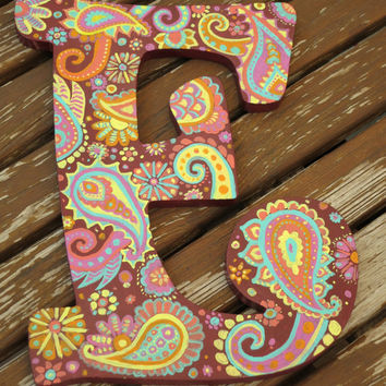"Hand Painted Wooden Paisley Letter ""E"""