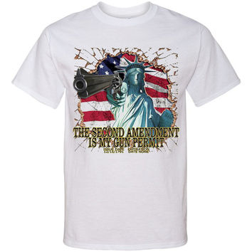 Printed T Shirt Second Amendment GUN PERMIT Southern Pride Printed Tees...Free Shipping!!