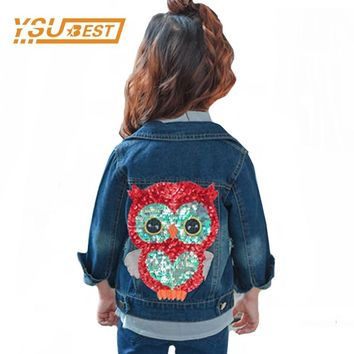 2018 Baby Girl Denim Jacket Sequined Owl Fashion Outwear For Boys and Girls Jeans Jackets Children Clothes 2-6Y Girls Jeans Coat