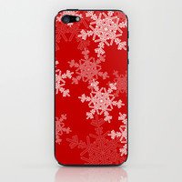 Red snowflakes iPhone & iPod Skin by Silvianna