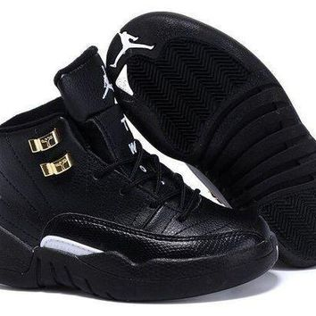New Nike Air Jordan 12 Kids Shoes Black - Beauty Ticks