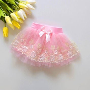 New 2016 Baby girls lace skirt  3color cake tutu girls skirts saia ballet skirt fantasia free shipping