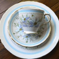 Blue Floral China Tea Trio Set - Tea Cup, Saucer, Lunch / Dessert Plate - Edelweiss with Gold Trim - Pattern Devon by Tuscan