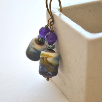 Purple Earrings, Lampwork Glass Earrings, Blue Patina Earrings, Bohemian Earrings