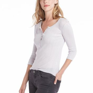 Rebecca Taylor Long Sleeve Mini Rib Henley