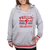 Majestic Philadelphia Phillies Ladies Plus Sizes All-Time Slugger Pullover Hoodie - Gray