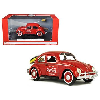 "1966 Volkswagen Beetle ""Coca Cola\"" with Rear Decklid Rack and 2 Bottle Cases 1/24 Diecast Model Car by Motorcity Classics"