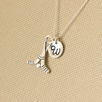 Ice hockey charms necklace. personalized initial necklace. hockey sticks necklace. Sterling Silvr Necklace. No.145