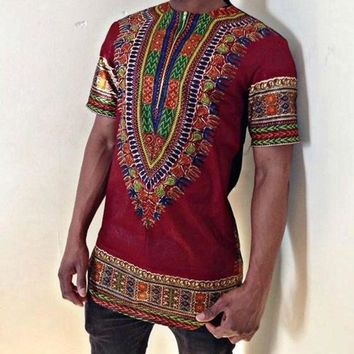 African Clothing Dashiki Clothing Promotion Limited Polyester The Men's Short Sleeve T-shirt Printing Folk Style Men Clothes