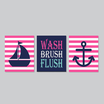 Wash Brush Flush Nautical Kids Bathroom Wall Art Hot Pink Navy Sailboat Anchor Set of 3 Prints Girl Boy Bath Prints Kids Bathroom Decor Art