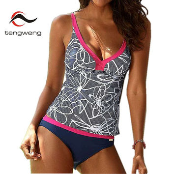 Tengweng 2017 New Plus size Bikini Swimming For Women Print Floral Swimwear Women Large Size Swimsuit Female Bathing suits