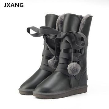 JXANG  Classic Women Snow Boots Leather Winter Shoes Boot bota feminina botas mujer zapatos Women waterproof Snow Boots