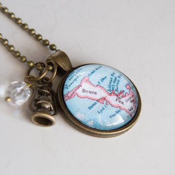 Bruce Peninsula Map Necklace - Northern Ontario - Georgian Bay -  Travel Jewelry - Custom Map Jewelry Lake Huron Cottage Niagara Escarpment