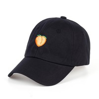 Embroidery Black Peach Emoji Hat