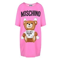 "Hot Sale Moschino Pink ""Bear"" Fashion Women T Shirt Loose Short Sleeves Dress"