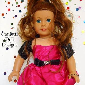 Hot Pink Bubble Dress with Black Bow and Accessories for American Girl Dolls