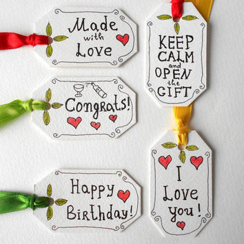 Set of 5 gift hang tags for different occasions,birthday tag , I love you tag, congrats tag, made with love, keep calm and open the gift tag