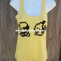 YELLOW Pokemon Ash and PIKACHU 8-bit walking Racerback tank top